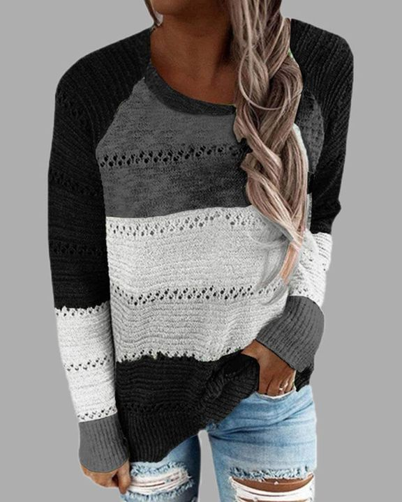 Colorblock Rib-Knit Hollow Out Round Neck Sweater gallery 2