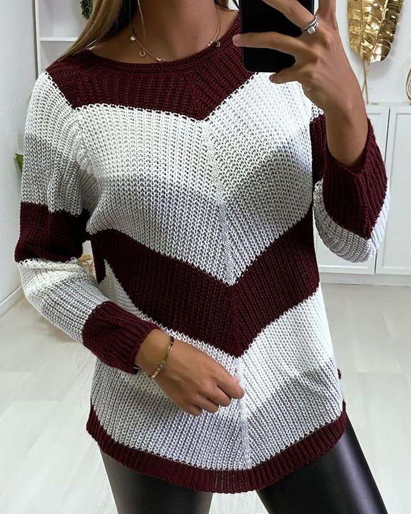 Chevron Print Ribbed Round Neck Sweater gallery 2