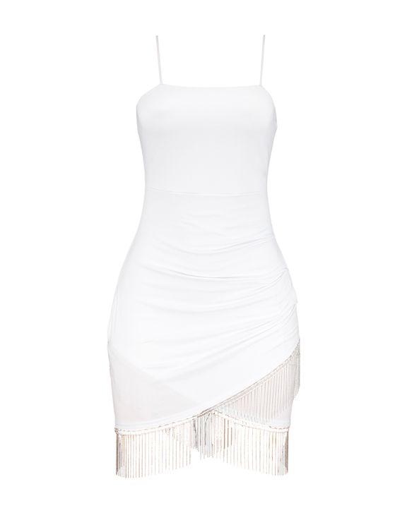 Rhinestone Fringe Decor Wrap Hem Cami Dress gallery 7