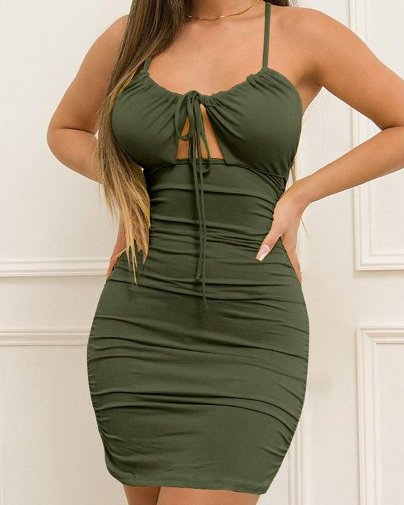 Solid Ruched Drawstring Front Cut Out Mini Dress gallery 4