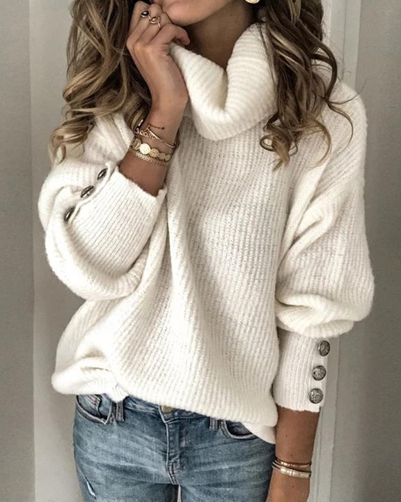 Solid Button Detail Ribbed High Neck Sweater gallery 1