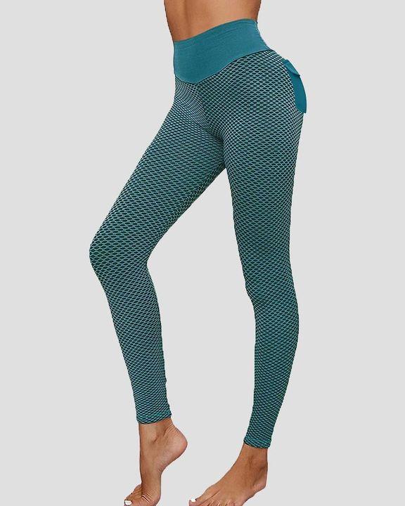 Textured Pocket Detail Butt Lifting Sports Leggings gallery 3