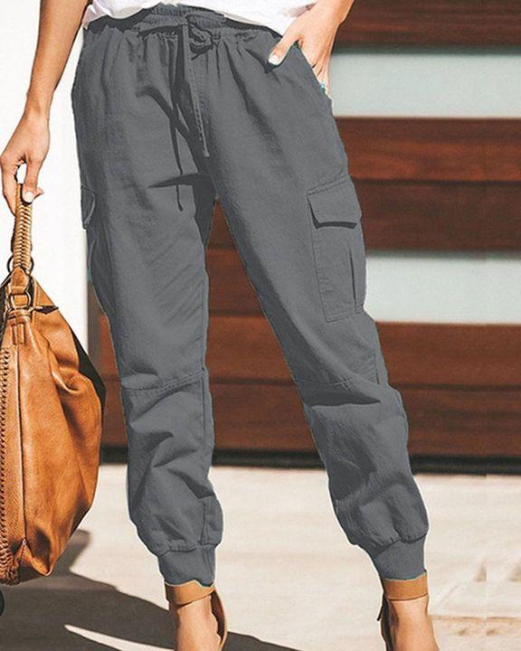 Drawstring Waist Flap Pocket Sports Pants gallery 3