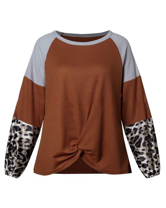 Cheetah Panel Colorblock Twist Front Drop Bishop Sleeve Sweater gallery 5