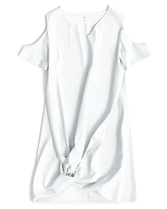 Solid Twist Cold Shoulder Short Dress gallery 10
