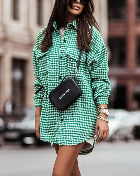 Houndstooth Print Flap Pocket Button Up Coat gallery 4