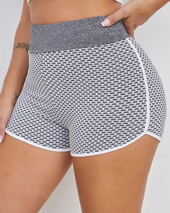 Textured Ruched High Waist Sports Shorts gallery 7