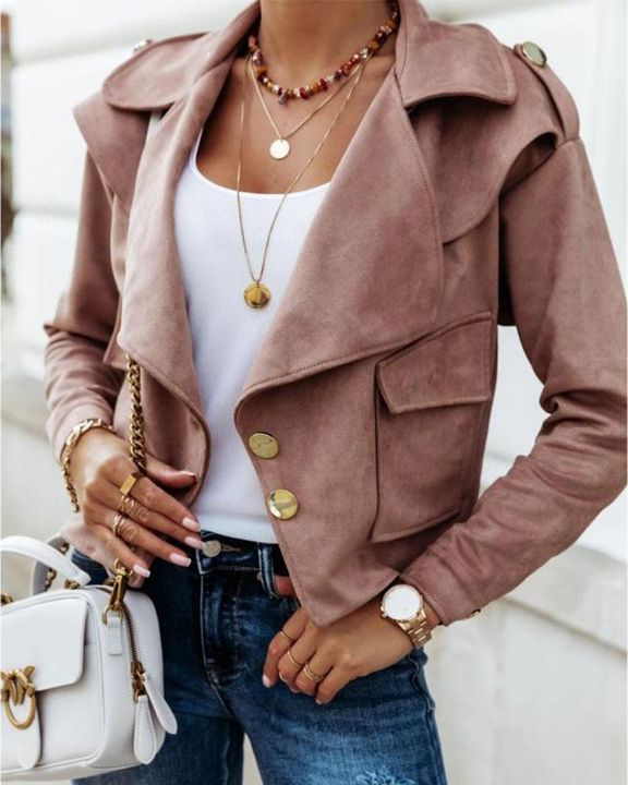 Suede Button Front Flap Pocket Moto Jacket gallery 1