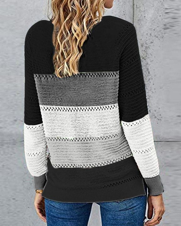 Colorblock Rib-Knit Hollow Out Round Neck Sweater gallery 10