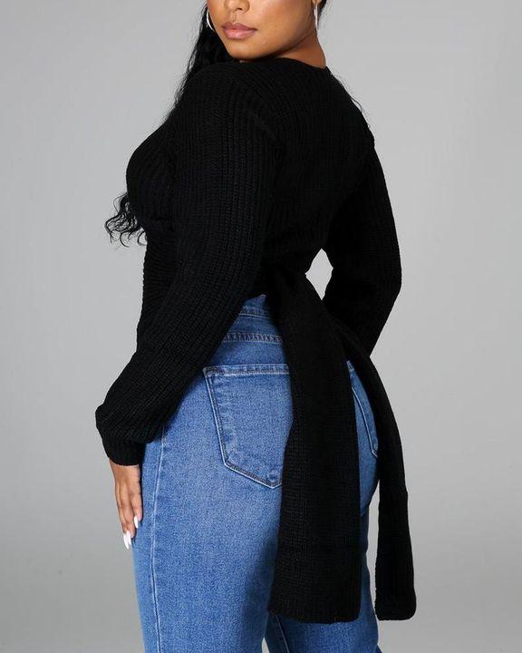 Chunky Knit Split Hem V Neck Sweater gallery 10