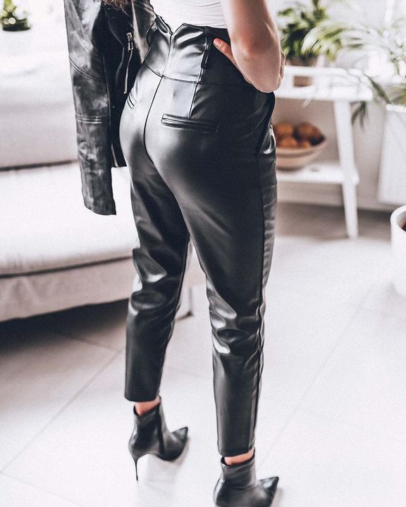 Button Front V Wired Wide Waistband PU Pants gallery 3