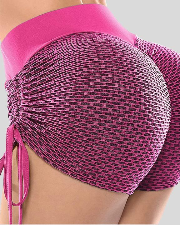 Solid Textured Drawstring Side Butt Lifting Sports Shorts gallery 5