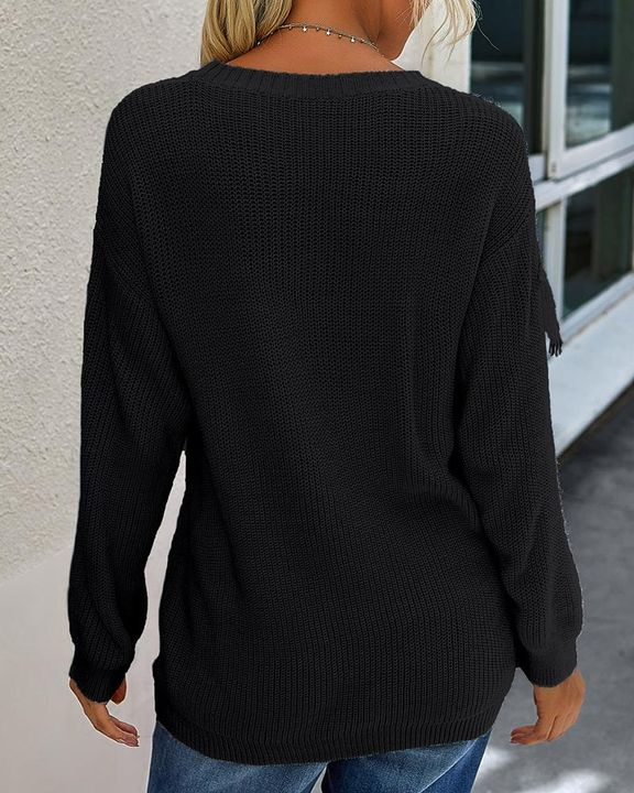 Solid Fringe Trim Drop Shoulder Sweater gallery 9