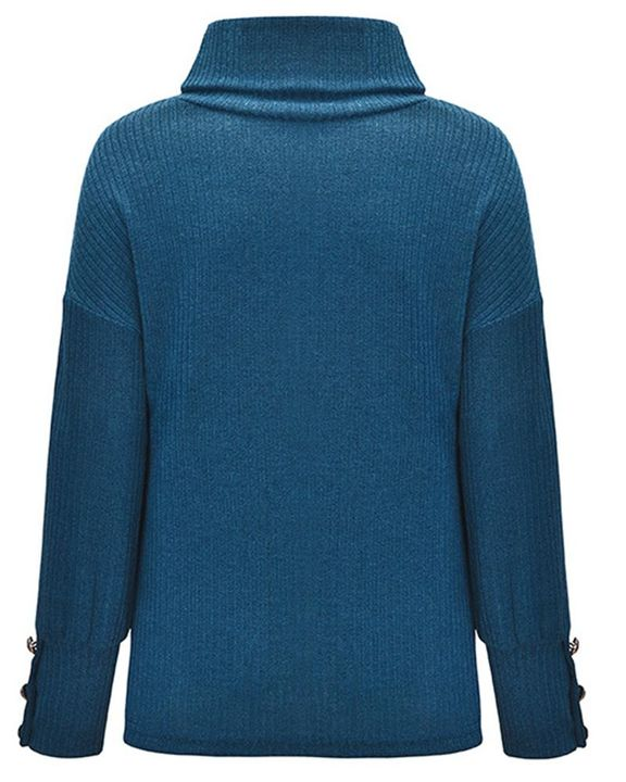 Solid Button Detail Ribbed High Neck Sweater gallery 12