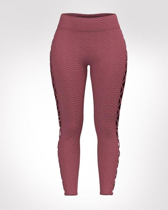 Lace Up Side Textured Ruched Sports Leggings gallery 1