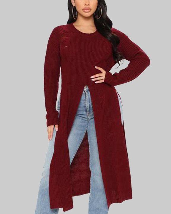 Rib Knit Split Hem Ripped Form Fitting Sweater gallery 1