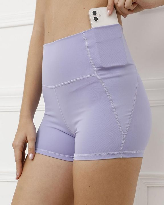 Pocket Decor Wide Waistband Butt Lifting Sports Shorts gallery 1