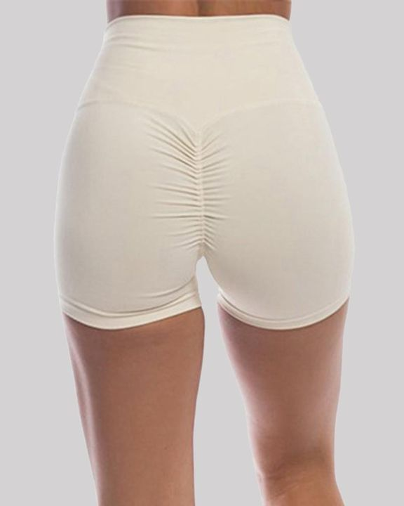 Solid Ruched Butt Lifting High Waist Sports Short gallery 6