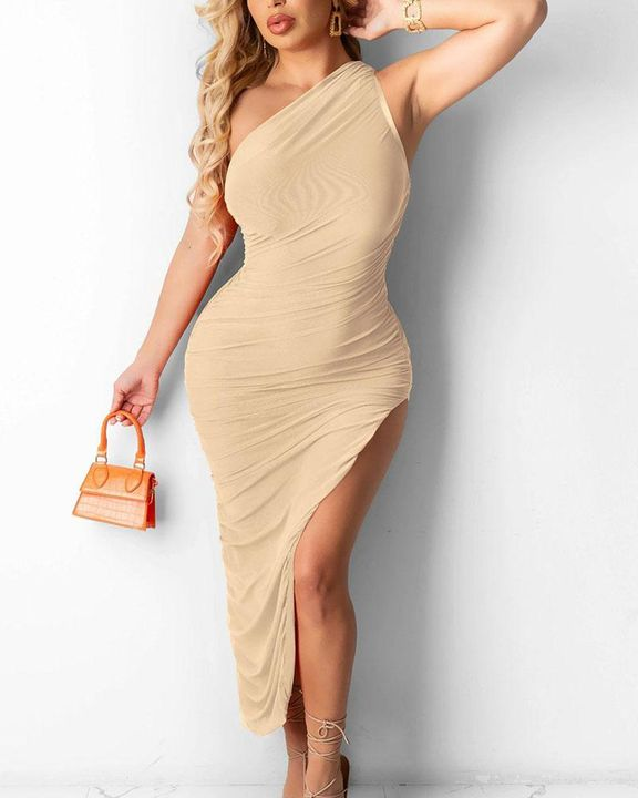 Solid One Shoulder Split Thigh Ruched Dress gallery 6