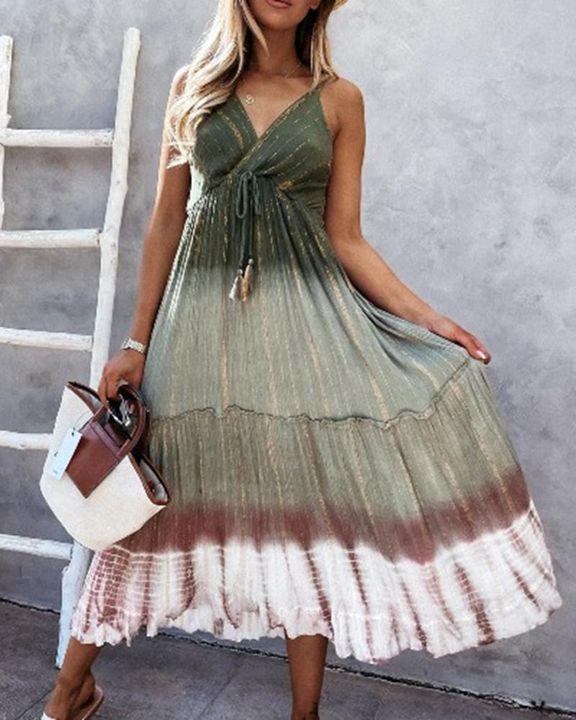 Tie Dye Metallic Tassel Knot Frill Trim Cami Long Dress gallery 1