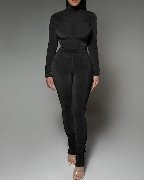 Solid Velvet Form Fitted Top & Pants Set gallery 1