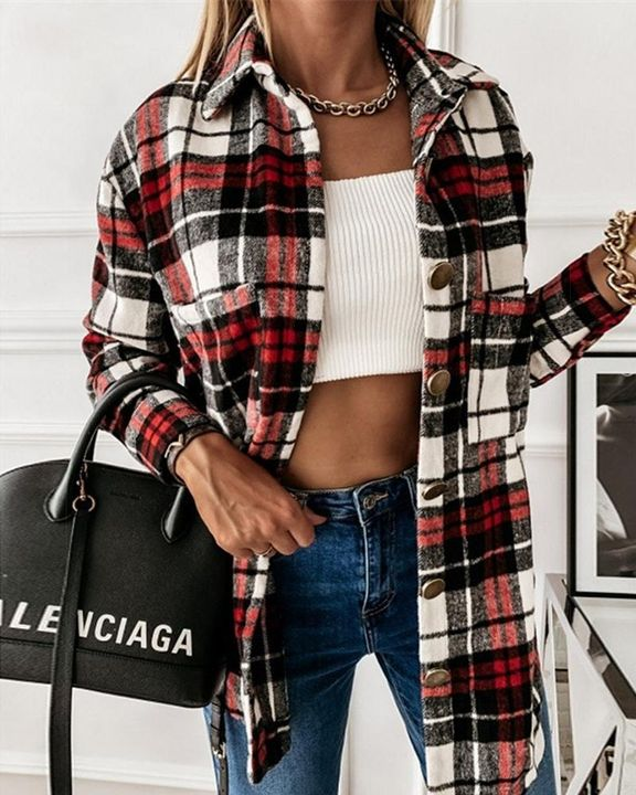 Plaid Print Button Up Collar Coat gallery 1