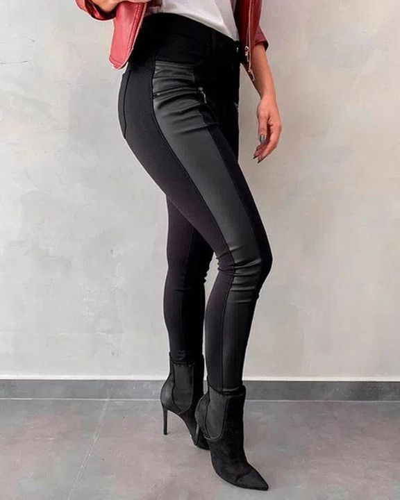 PU Patched Zipper Design Skinny Pants gallery 3