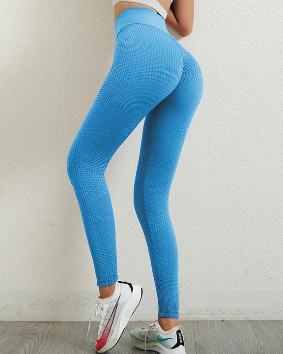 Solid Textured Wide Waistband Scrunch Butt Sports Leggings gallery 4