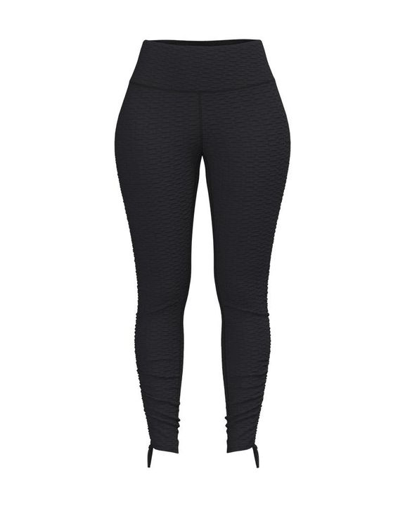 Knot Side Textured Wide Waistband Sports Leggings gallery 5