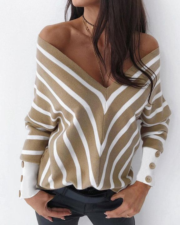 Striped Print Button Decor Off Shoulder Sweater gallery 2