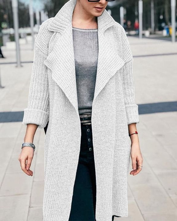 Solid Rib-Knit Open Front Lapel Neck Cardigan gallery 5