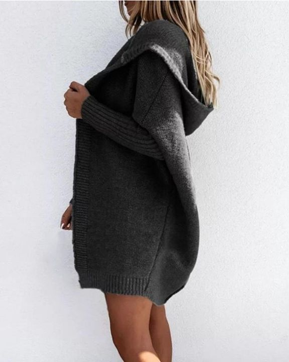 Solid Open Front Hooded Cardigan gallery 9