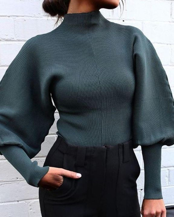 Solid Ribbed Leg-of-mutton Sleeve Sweater gallery 5