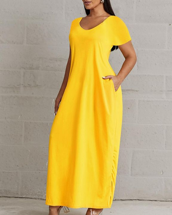 Solid Pocket Detail Maxi Dress gallery 4