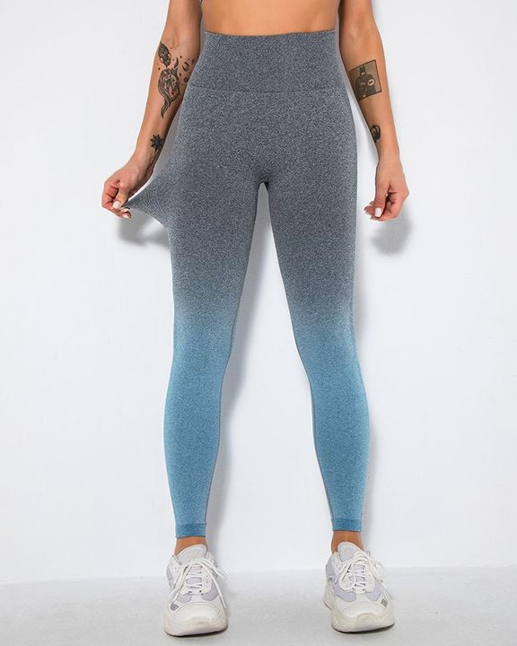 Ombre Space Dye Seamless Butt Lifting Sports Leggings gallery 2