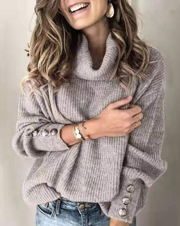 Solid Button Detail Ribbed High Neck Sweater gallery 9