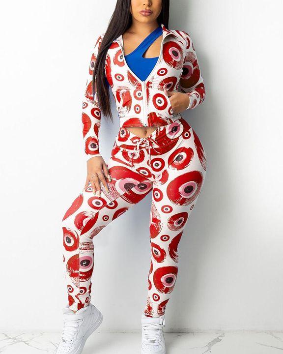 Allover Print Zip Up Drawstring Waist Jacket & Pants Set gallery 2