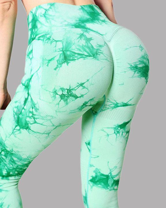 Tie Dye Wide Waistband Butt Lifting Absorbs Sweat Sports Leggings gallery 13