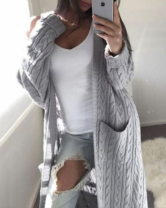 Solid Patch Pocket Open Front Cable Knit Cardigan gallery 1