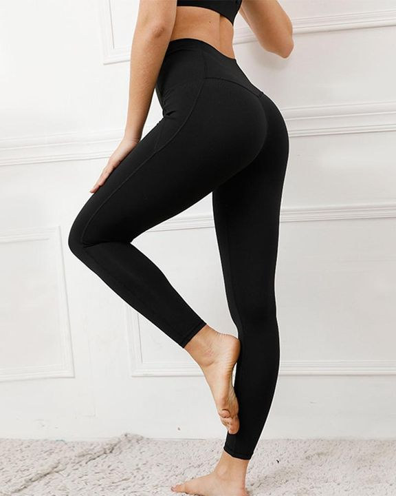 Contrast Stitch Pocket Side Softness Butt Lifting Sports Leggings gallery 12