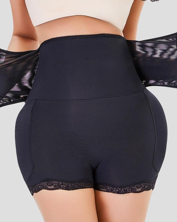 Floral Lace Hook And Eye Butt Lifting High Waist Shapewear Shorts gallery 2