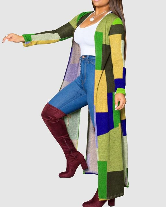 Colorblock Split Open Front Cardigan gallery 2