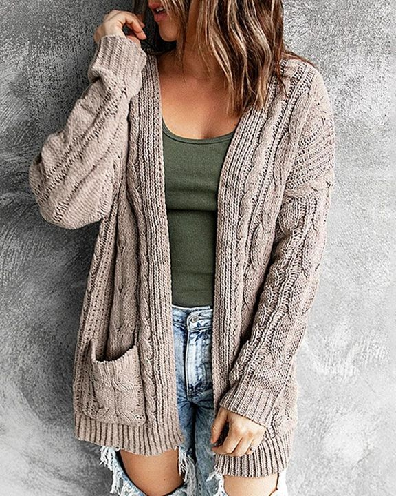 Solid Dual Pocket Cable Knit Cardigan gallery 2