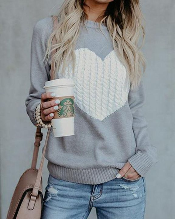 Colorblock Heart Pattern Chunky Knit Round Neck Sweater gallery 5