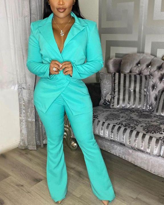 Gigot Sleeve Lapel Neck Double Breasted Blazer & Pants Set gallery 9