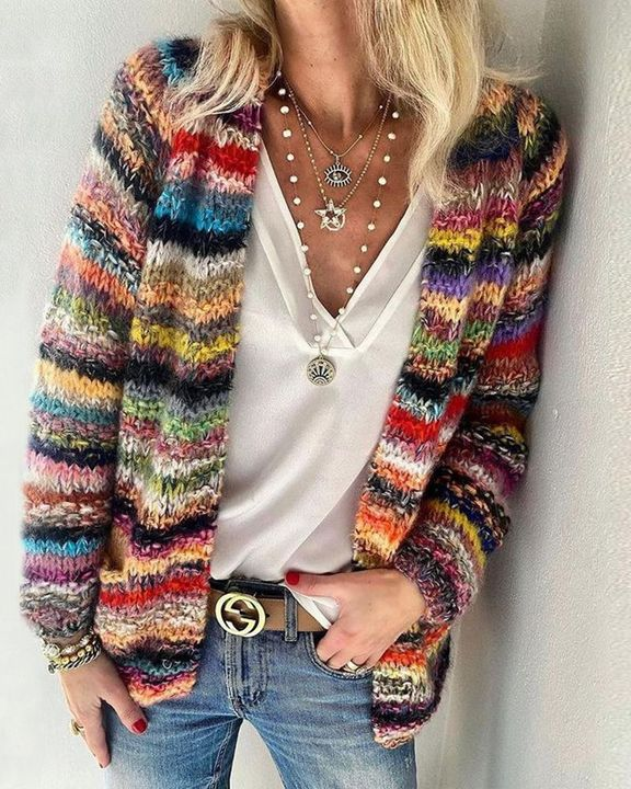 Striped Fuzzy Knit Open Front Sweater gallery 1