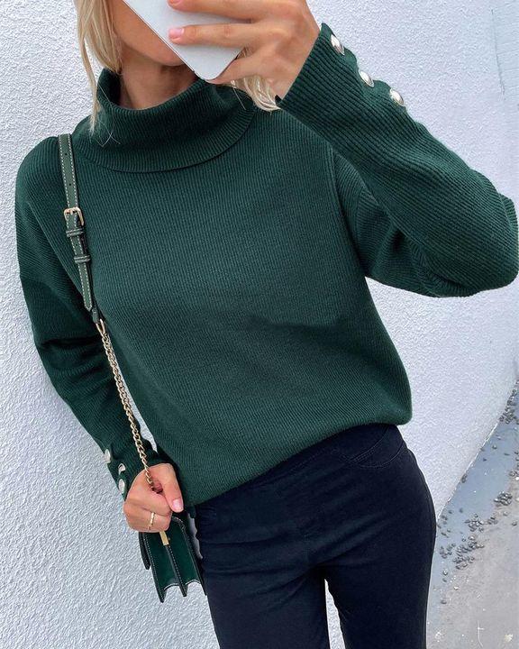 Rib Knit Turtleneck Button Trim Drop Shoulder Sweater gallery 4