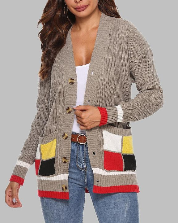 Colorblock Open Front Pocket Detail Button Trim Cardigan gallery 1