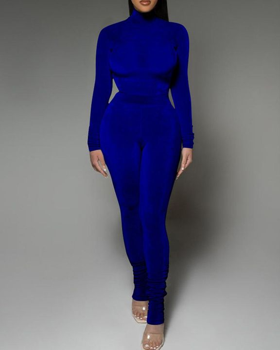 Solid Velvet Form Fitted Top & Pants Set gallery 4
