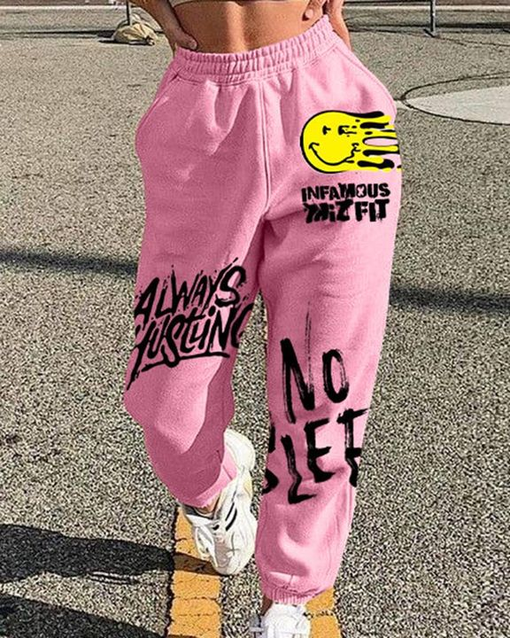 Letter Print Graphic Patch Pocket Decor Sports Pants  gallery 3